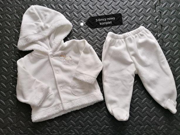 Biały komplet 62 bluza i półśpiochy