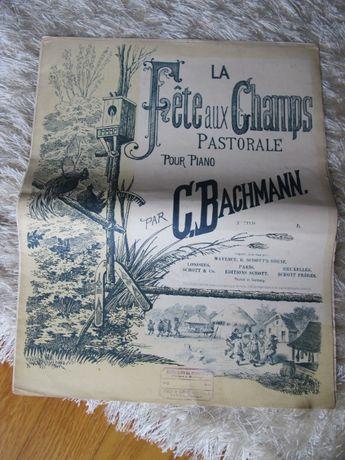 Partitura Musical Piano Antiga - La Fête aux Champs