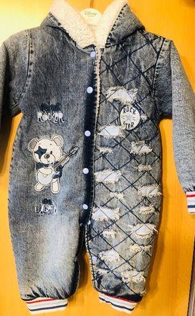 Комбинезон детский демисезонный джинсовый на меху 74 размер НОВЫЙ