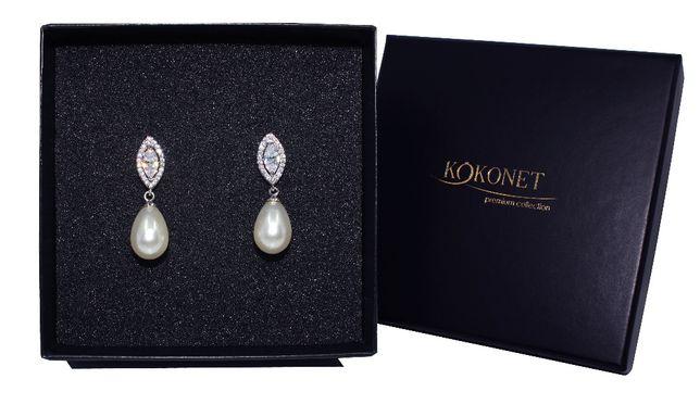 KOLCZYKI z perłami delikatne ślubne srebrne PIĘKNE