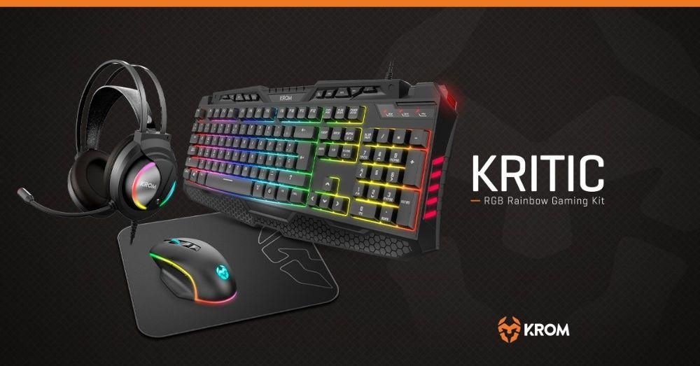Krom Kritic RGB Rainbow Gaming Kit ( Teclado+Rato+Tapete+Headsets RGB Alfragide - imagem 1