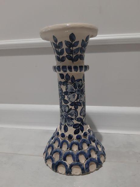 Caramika świecznik PRL lata 80te ręcznie malowany