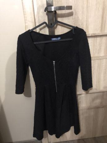 Bershka czarna sukienka na suwak