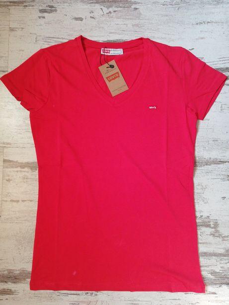 T-shirt Koszulka Damski Levis  w serek  L Czerwona Czarny Biały