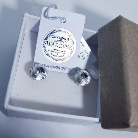 Подарок любимой девушке жене серебряные сережки гвоздики Swarovski