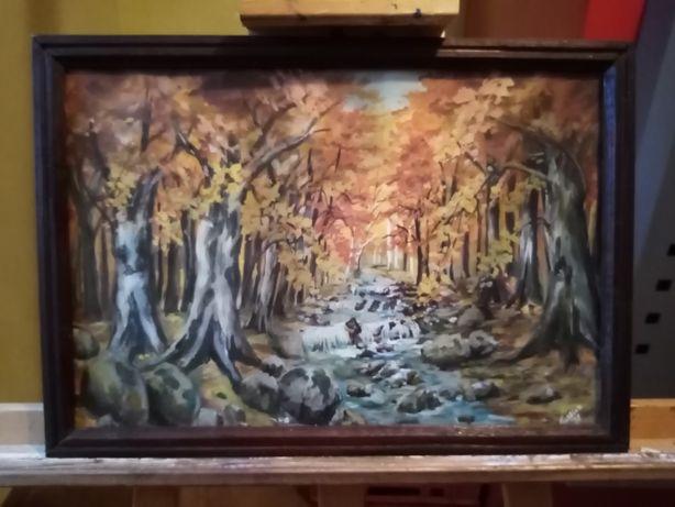 """""""Jesienny potok"""" - przepiękna akwarela za szkłem!"""