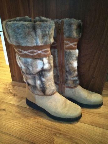 Buty zimowe BRUNATE NOWE naturalne włosie kożuch i futro