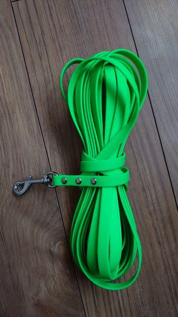 Linka treningowa 10m wodoodporna zielony neon spaniel samoyed border