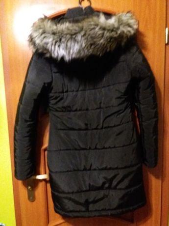 Kurtka pikowana zimowa kaptur-futerko damska młodzieżowa czarna