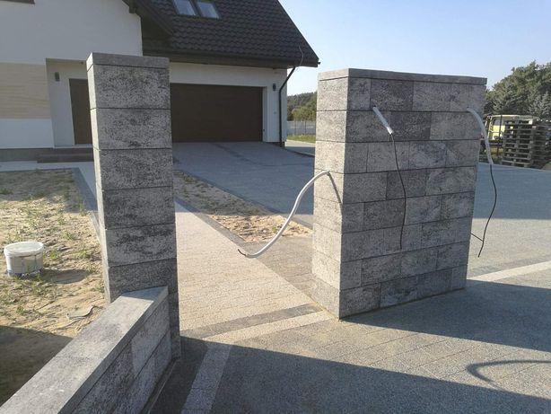 Ogrodzenia murowanie z łupków gotowych elementów.łupane ogrodzenie