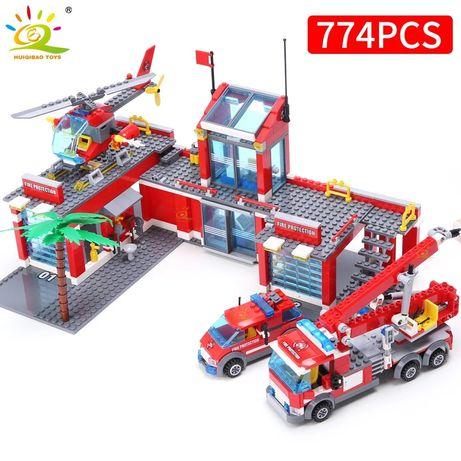 Nowe-Klocki Straż Pożarna Remiza 774 elementy MEGA Zestaw
