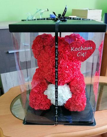 Miś z róż 35cm NOWY-OKAZJA!!!