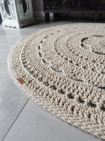 Dywan ręcznie robiony z bawełnianego sznurka - 130cm HANDMADE Szydełko