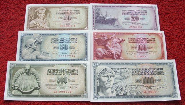 JUGOSŁAWIA Kolekcjonerskie Banknoty Zestaw - 6 sztuk UNC