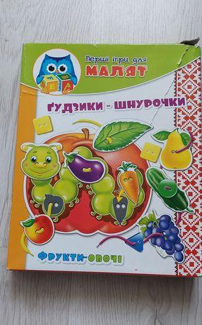 Шнуровка-пуговицы «Фрукты-овощи», Vladi Toys