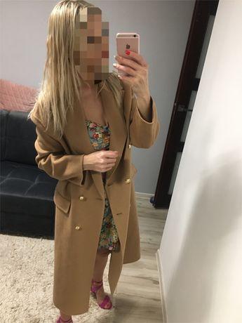 Piekny plaszcz Zara sloneczny kolor Karmel r M