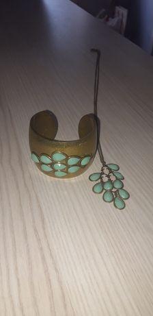 Branzoletka szeroka i wisiorek z kamieniami.