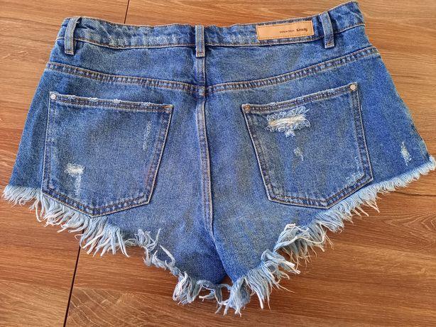 Krótkie spodenki jeansowe dżinsowe szorty z przetarciami dziurami posz