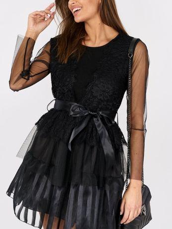 Piękna elegancka rozkloszowana sukienka tiul koronka pasek uni HIT !!