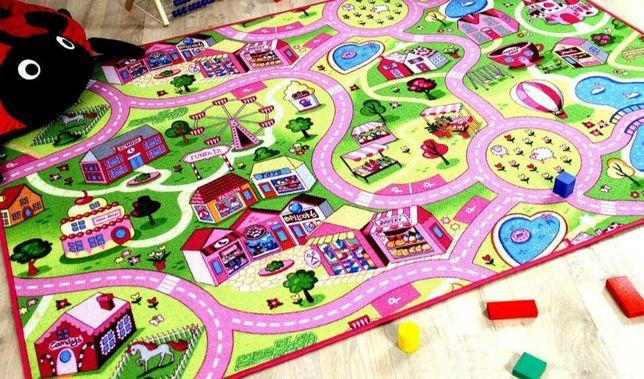 2.5x3.3 250x330 dywan dziecięcy dziewczęcy ulice różowe sweet town