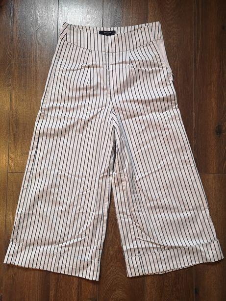 RESERVED ultra szerokie bardzo szerokie spodnie BIAŁe w paski 34 XS