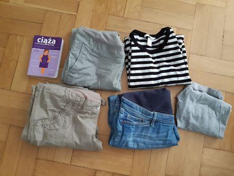 Zestaw ciążowy jesień - zima. 3 pary spodni, cienki sweterek i gratis