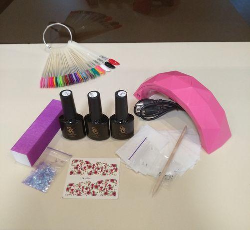 Стартовый набор для маникюра ногтей гель лака лампа топ база