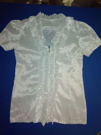 Блузка белая школьная на молнии