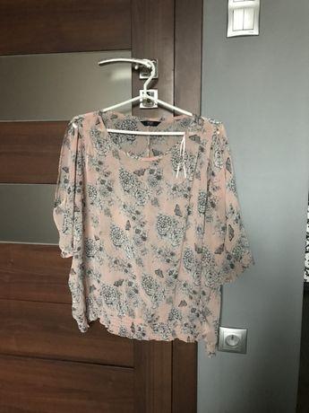 Nowa różowa/pudrowa zwiewna bluzka w kwiaty z szerokimi rękawami F&F