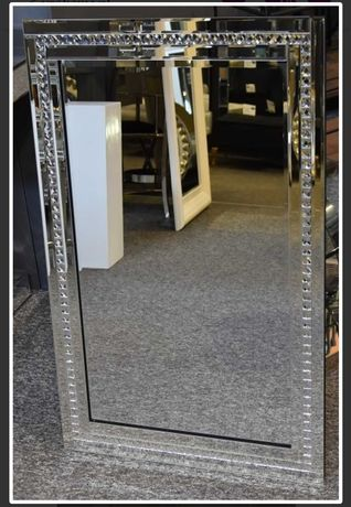 Lustro Glamour kryształki lustrzana rama