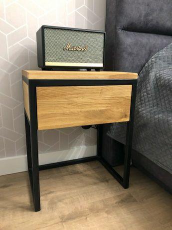 Dębowa szafka nocna loft, stolik nocny, dębowa szafka z szufladą