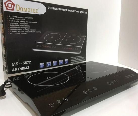 Новая индукционная плита Domotec Ms-5872 Grey сенсорная / электроплита
