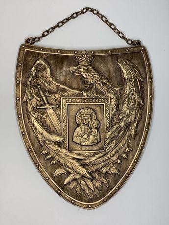 Mosiężny Ryngraf z Matką Boską Częstochowską