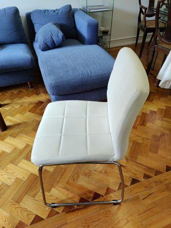 Cadeira El Corte Inglês em Pele / Napa Branca