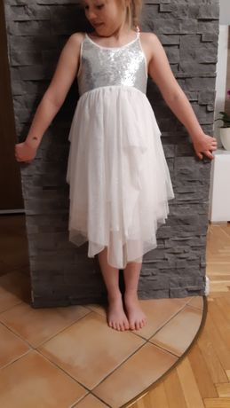 Sukienka dla aniołka na bal przebierańców z cekinami, H&M 128-134cm,