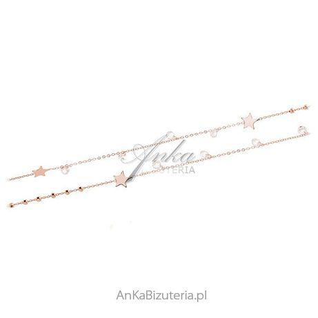 ankabizuteria.pl Srebrny naszyjnik pozłacany różowym złotem z białymi