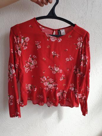кофта блузка червона в квіти