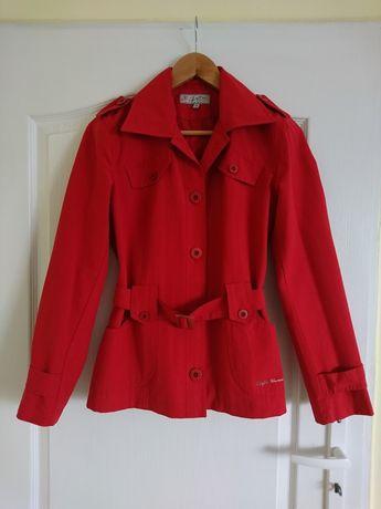 Czerwony krótki płaszczyk płaszcz z kieszeniami i paskiem 36 S