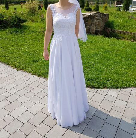 Piękna suknia ślubna bez koła, rozm. S/M