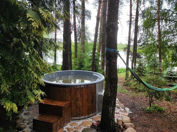 Komfortowy domek nad jeziorem w pierwszej linii balia hot tube
