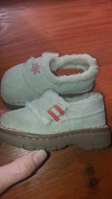 Ботиночки туфли натур замш утепленные мехом 13 см стелька