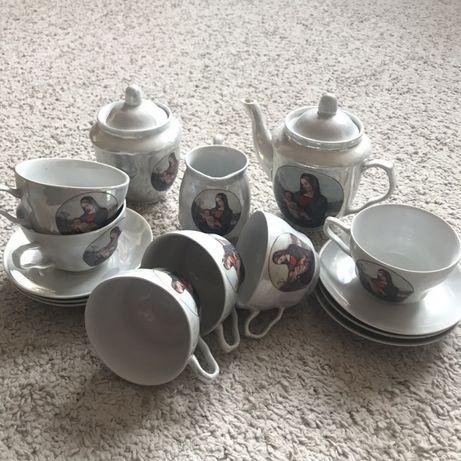 Чайный сервиз недорого на 6 персон дева Мария перламутр