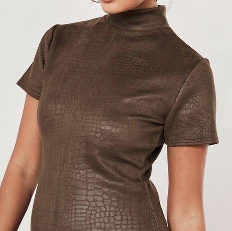Missguided brązowa sukienka mini krokodyli wzór impreza casual 38