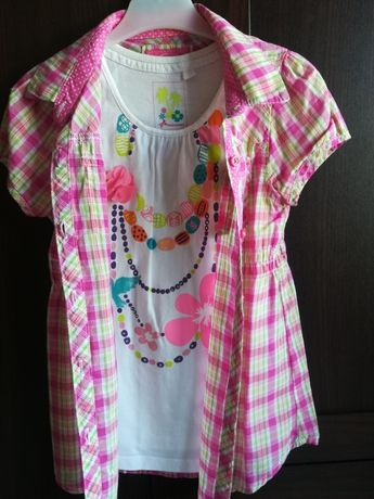 Śliczna koszulka + top roz 122 C&A