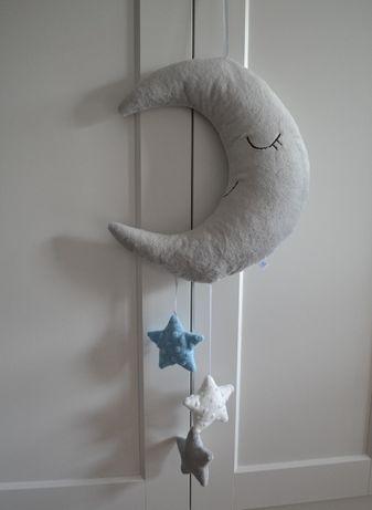Wyprzedaż! Duża zawieszka ozdobna z minky księżyc z gwiazdkami CUDO!