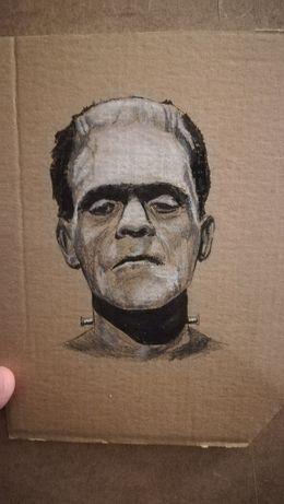 Frankenstein desenho a pastel e caneta sobre cartolina 17x14 cm