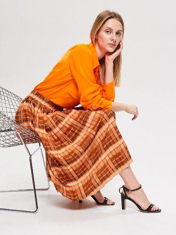 Plisowana spódnica midi kratka beż brąz pomarańcz RESERVED 40/L