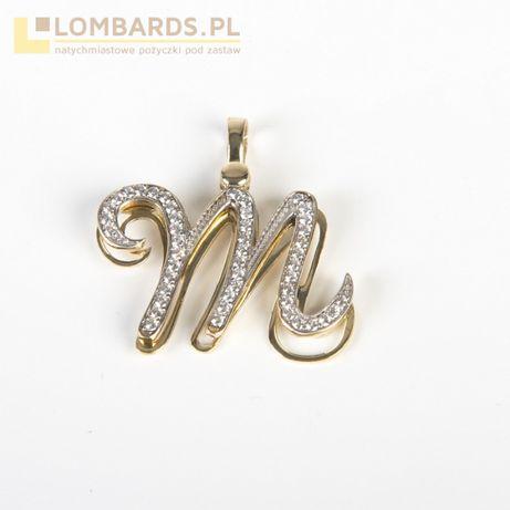złota przywieszka Litera M