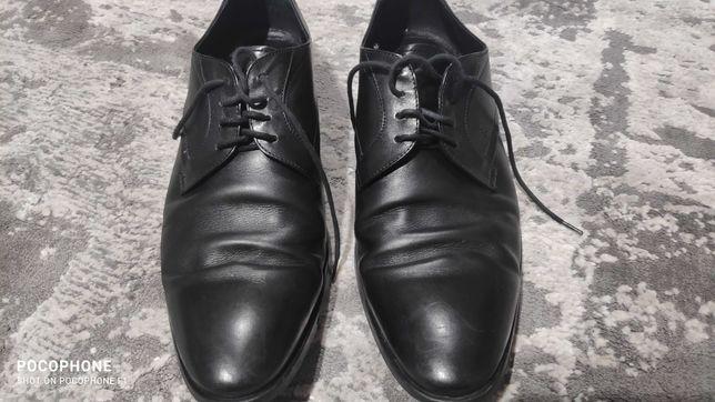 Buty męskie skórzane Recman, derby, czarne rozmiar 42