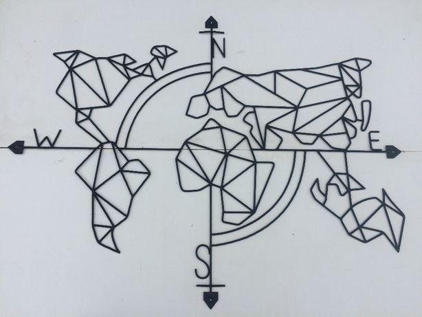 Настенный декор панно картина Карта мира лофт из металла ручной работы